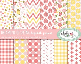50%OFF Digital paper, floral paper, chevron paper, spring paper, dreaming of spring scrapbook paper, patterned paper, commercial use, P