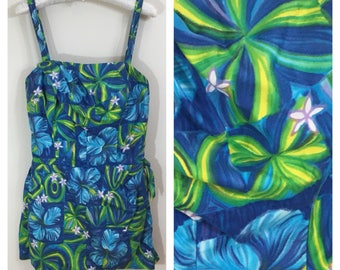 50s 60s Paradise Hawaii Blue Hawaiian Print Sarong One Piece Swimsuit, Pin Up Playsuit, Size XS to Small