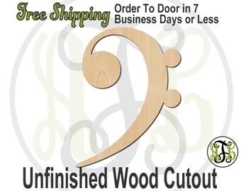 Bass Clef - 300118- Cutout, unfinished, wood cutout, wood craft, laser cut wood, wood cut out, Door Hanger, wooden sign, wall art