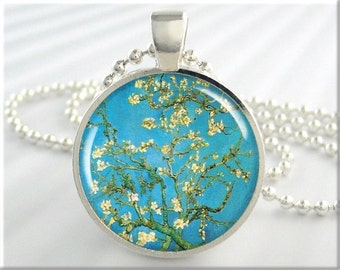 Van Gogh Almond Tree Pendant Turquoise Jewelry Van Gogh Blossoming Almond Art Necklace Resin Charm Gift Under 20 Round Silver (123RS)