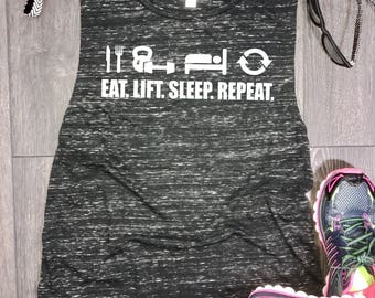 Eat Lift Sleep Repeat womens muscle tank, womens workout muscle tank, gym tank, gym tank top, womens workout tank, workout sayings