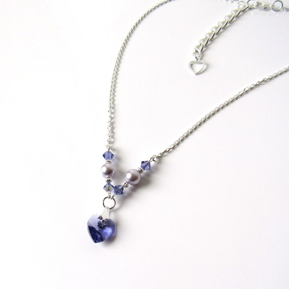 Completely new Girls Purple Necklace Girls Crystal Heart Necklace Flower NY79