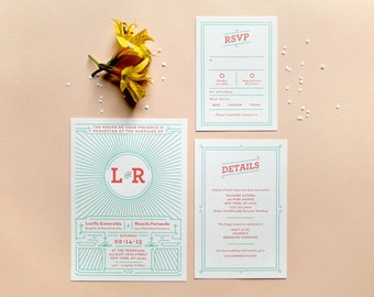 Digital Wedding Invitation Set with RSVP – Art Deco, Vintage Inspired, DIY Wedding, Printable Files – Lucy & Ricky