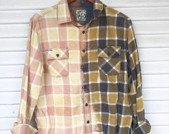 LARGE - Flannel Shirt - Bleached - Vintage Washed Flannel - Oversized Flannel - Distressed Flannel - Plaid Shirt - Fall Shirt - BM