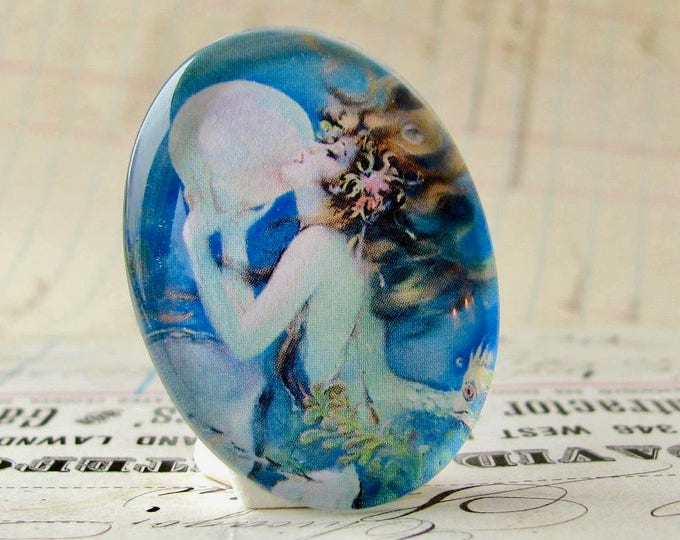 The Mermaid by Henry Clive, handmade 40x30 40x30mm  glass oval mermaid cabochon, white, blue, woman, hair, female ferility