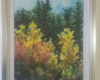 """Original framed watercolor painting """"Spring Valley Autumn"""""""