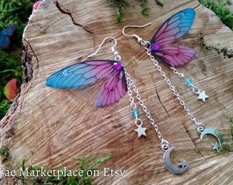 Magical Blue and Purple Moon and Stars Fairy Wing Earrings