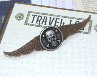 Steampunk Airship Pirate Skull and Crossbones Winged Pin, Rocker Pin, Airship Captain Steampunk Accessory
