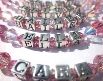 Personalized Bracelet, Child Bracelet, Swarovski Crystal, Name Bracelet, Birthstone Jewelry