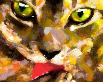 Cat Art Print art cat print tabby cat print cat painting tabby cat art tabby cat art print cat wall art print tabby painting cat bathroom