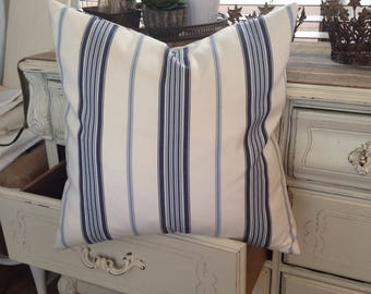 French Ticking  Shades of Blue Stripe Pillow   Farmhouse / Lake House / Coastal Cottage / Beach / Nautical / Cottage Chic