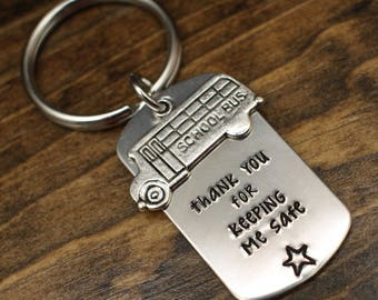 Bus Driver Gift, Keychain for Bus Driver, End of Year Gift, School Bus, Thank You for Keeping Me Safe, Hand Stamped Gift ideas