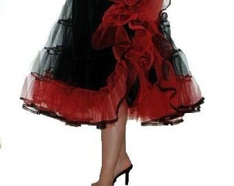 Petticoat Black Red stiff net 50s vintage style rock n roll