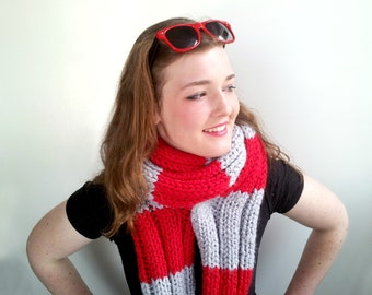 Red and Gray Long Handknitted Scarf. Chunky, Soft. Women or Men. Ohio State Colors.