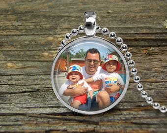 Custom Your Photo Necklace-Pendant-Wedding- Silver Snake Ball Chain-Woman Gift-Bride Gift-family-Pet-dog-cat-Grandmother-Children-Godmother