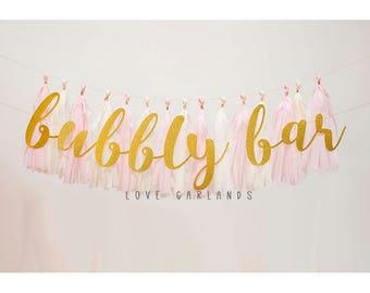 Bubbly Bar Gold Glitter Script Garland, Bubbly Bar Gold Glitter Garland, Bubbly Bar Script Garland, Bubbly Bar Cursive Garland