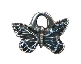 Danforth Blue Butterfly 1/2 inch ( 12 mm ) Pewter Mini Charm
