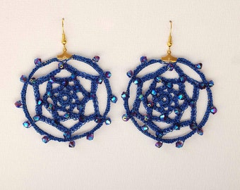 Metallic blue Crochet Hoops with Swarovski crystals, Dreamcatcher Earrings, Gift for Her, Gift for teens, Bridesmaid, Wedding jewelry