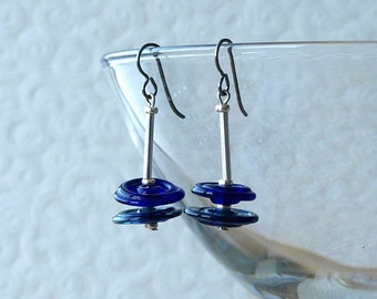 glass disk earrings, glass disc earrings, blue glass disc earrings, MINIMALIST, hypoallergenic titanium earwires