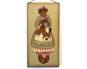 Primitive Gingerbread Sign, Handpainted Wood, Hand Painted Ginger Sign, Home Decor, Wall Art, Tole Decorative Painting