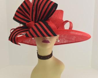 Kentucky Derby Church Tea Wedding Hat Sinamay w Feathers Wide d30791ddf12