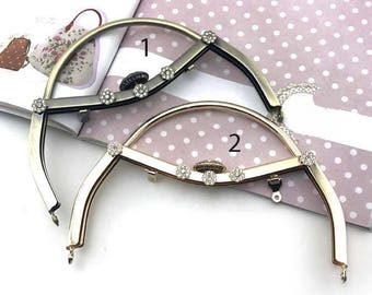 1 PCS, 18cm / 7 Inch Sew In Curved Sqaured Faux Diamond Brass Kiss Clasp Lock Purse Frame