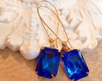 Sapphire Earrings - Art Deco Jewelry - September Birthstone - Blue Crystal Dangle Earrings - DORSET Sapphire
