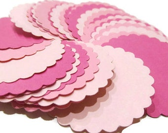 Scalloped Paper Circle Die Cuts in Pink, Baby Girl Shower Decoration, DIY Scallop Circle Garland Supply Pink, Scalloped Circle Labels