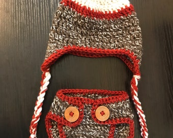 Crochet Sock Monkey Hat & Diaper Cover
