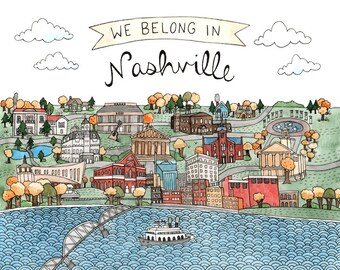 "Nashville Art Print 8.5x11"""