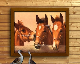 """Picture of Horses Family Room Art, Office Art, Three Horses, """"Win, Place, Show""""  Gift for a Horse Lover, Elegant Print   #188"""