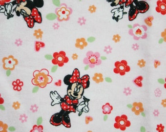 Pink Minnie Mouse and Flowers Pillowcase