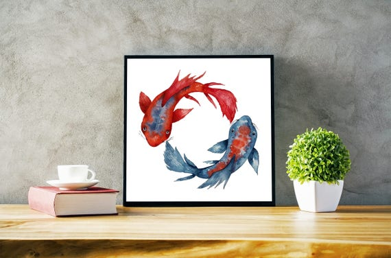 Yin Yang Koi Fish | Framed poster | Wall art decor | Watercolor painting | Japanese art | Red and Blue | Meditation art | Yoga | ZuskArt