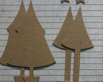 4 Bare chipboard die cuts TREES in pots diecuts 2 styles