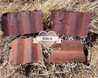 rusty corrugated metal small sheets, metal for crafting, scrap metal, salvaged rusty metal, salvaged materials, metal decor, sculpture metal
