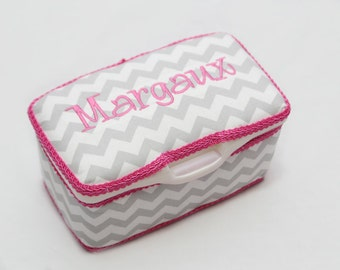 Personalized Wipes Case Tub - Grey Chevron with Hot Pink