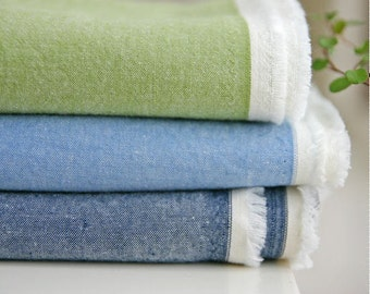 Pre-washed Cotton Fabric Solid - Olive, Blue or Navy - By the Yard 9047 - 8025
