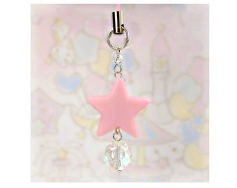 Cute Cell Phone Strap Charm Zipper Pull Pastel Light Pink Star Iridescent Bead Fairy Kei Sweet Lolita