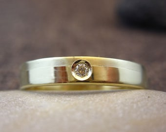 Solid 14K Gold & Diamond Flat Wedding Band | Handmade Solid 14K Gold and Diamond 3mm Wide Flat Wedding Ring