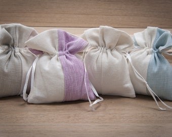 Wedding favor-10 colored cotton Sachets Kit bicolor