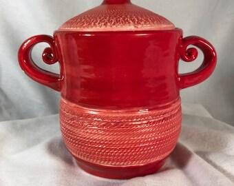 Red Ceramic jar with lid