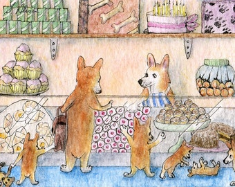 Welsh Corgi dog 8x10 art print - the whole family in the cake shop choosing cupcakes sponge jam tarts carrot pups doughnuts more cakes...