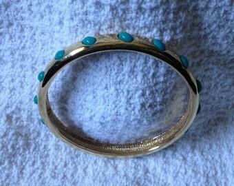 J. Crew  Gold Tone Bangle with Green/Blue Beaded Embellishments, Gold Tone Bangle Bracelet
