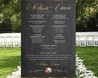 Wedding Program Sign, Printable Wedding Program Sign, DIGITAL Wedding Thank You, Large Wedding Sign, Chalkboard Welcome Program