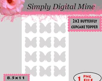 YOU Design!!! 2x2 butterflies cupcake topper Template !!