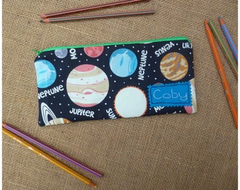Personalised Planets Pencil Case, Space Case, Glow in the Dark, School case, Astronomy Stationery, Pencil Pouch, Space Gift, Galaxy Case