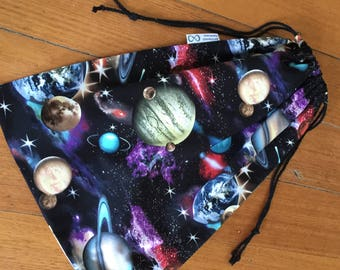 Library, Toy, Sport Bag,Space, Planets,Large 35 x 45cm Double Drawstring, Quality Hand Made