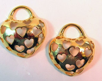 Large Puffed Hearts Cut Out on Heart Pendants 2