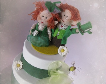 St Patricks Leprechaun wedding cake topper - Irish Bride Groom handmade felt dolls - Bridal OOAK Custom orders welcome - Hand Made in France