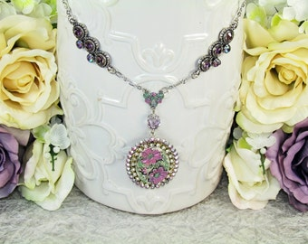 Handmade Necklace Purple and Pink Clearance